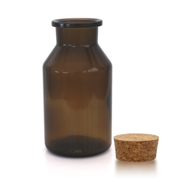 500 ml Steilbrustflasche Weithals inkl. Korken braun