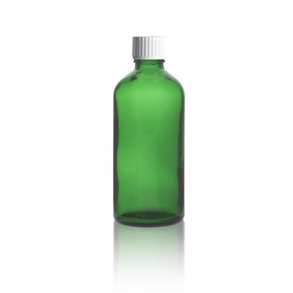 Grüne 100ml Tropfflasche mit weißem Standard Schraubverschluss