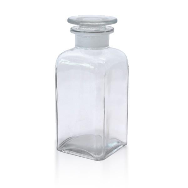 350 ml Vierkantflasche Weithals + NS Stopfen klar
