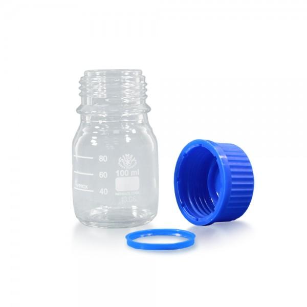 100 ml Laborflasche Glas + blauer Kappe + Ring