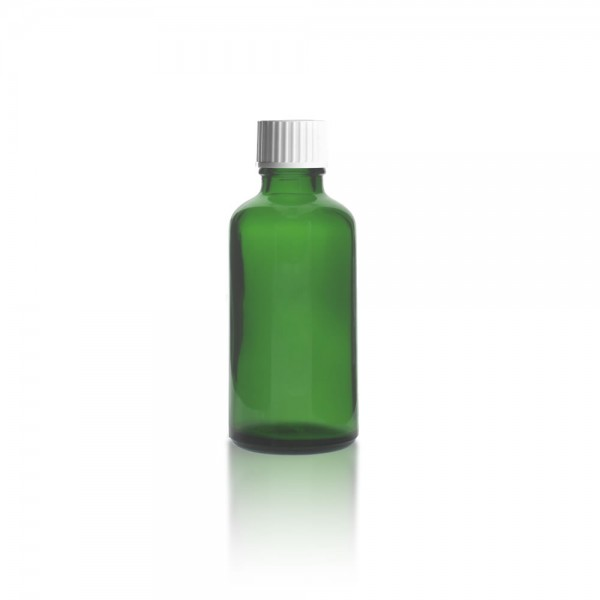 Grüne 50ml Tropfflasche mit weißem Standard Schraubverschluss