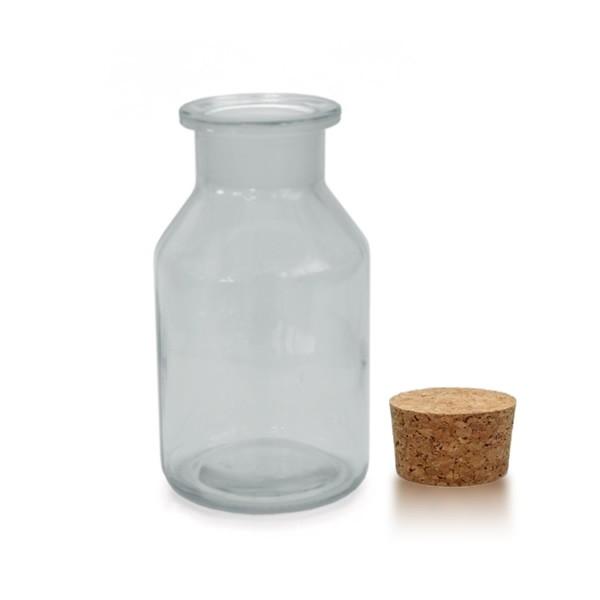 250 ml Steilbrustflasche Weithals inkl. Korken klar