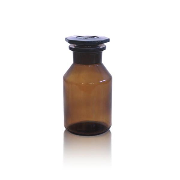 Steilbrustflasche 50ml mit Glasstopfen - Weithals braun