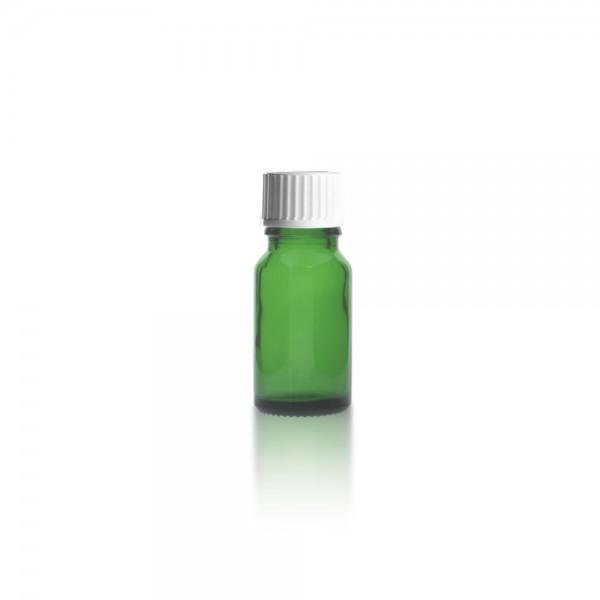 Grüne 10ml Tropfflasche mit weißem Standard Schraubverschluss