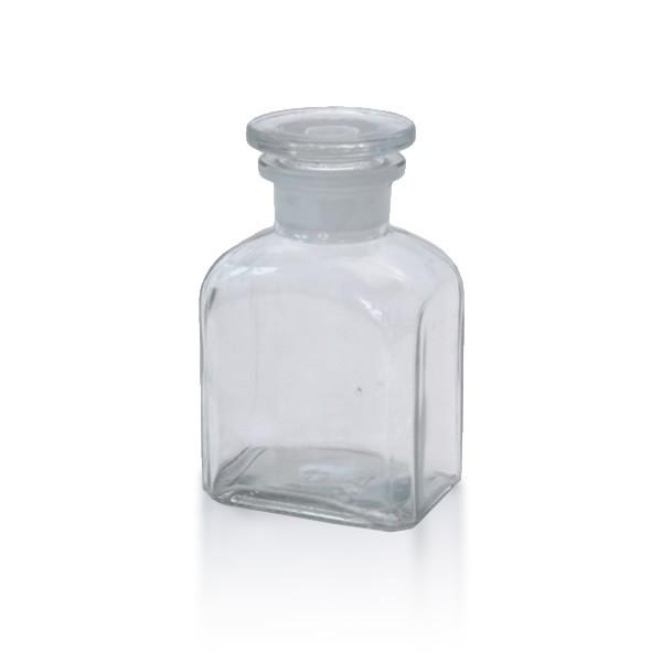 150 ml Vierkantflasche Weithals + NS Stopfen klar