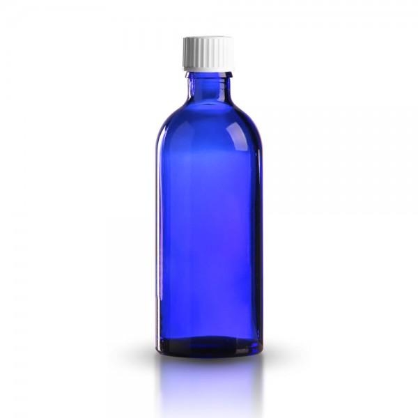 Blaue Tropfflasche mit weißem Standard Schraubverschluss 100ml