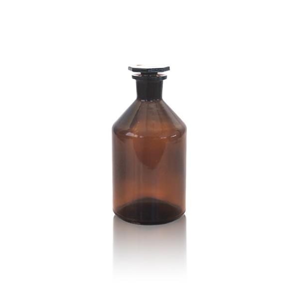 Steilbrustflasche 50ml mit Glasstopfen - Enghals braun