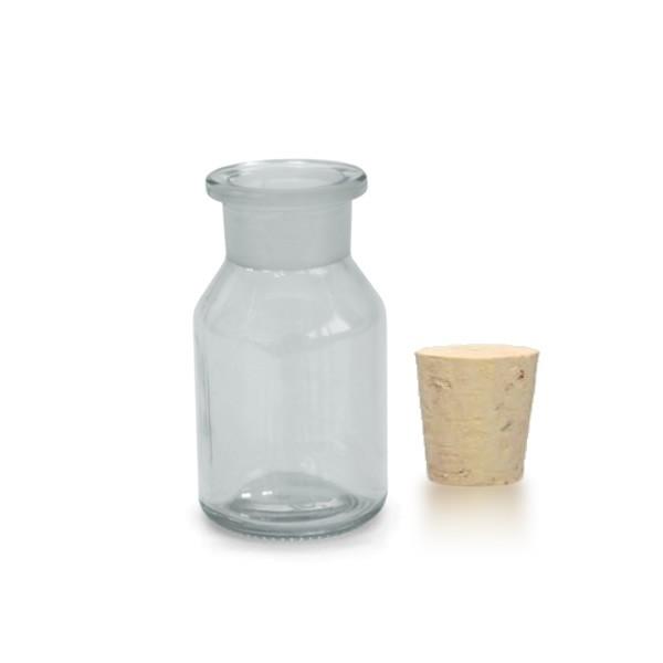 100 ml Steilbrustflasche Weithals inkl. Korken klar