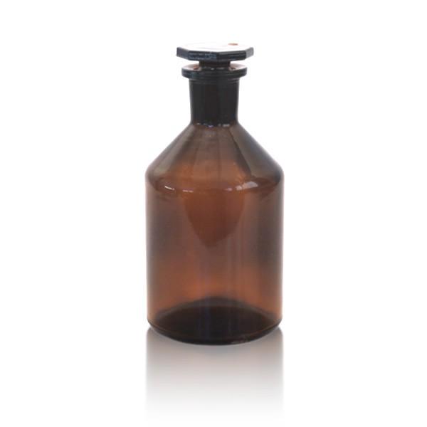 250 ml Steilbrustflasche EH + NS-Glasstopfen braun