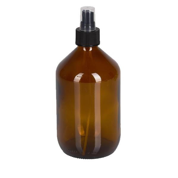 500ml Euro-Medizinflasche mit Zerstäuber schwarz