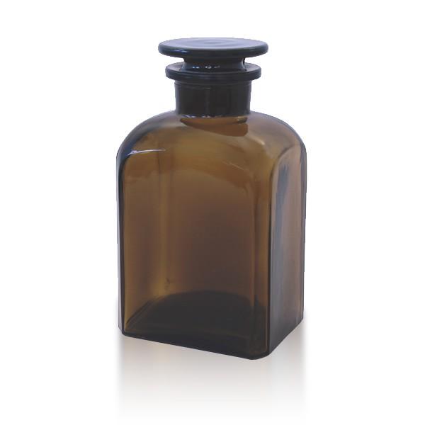 500 ml Vierkantflasche Weithals + NS Stopfen braun