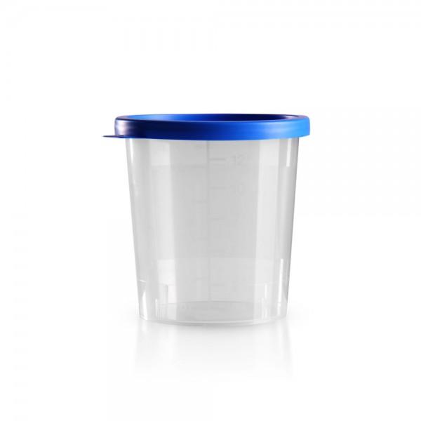 Urinbecher mit Schnappdeckel blau