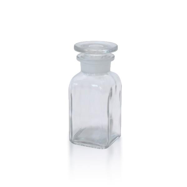 100 ml Vierkantflasche Weithals + NS Stopfen klar