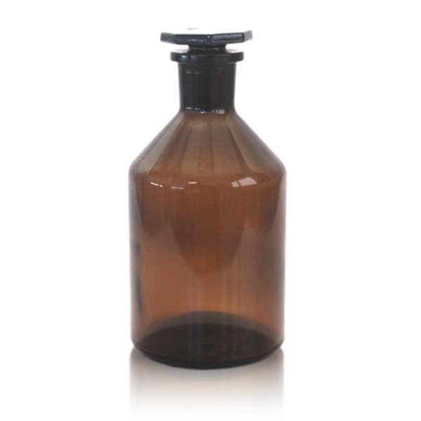 500 ml Steilbrustflasche EH + NS-Glasstopfen braun