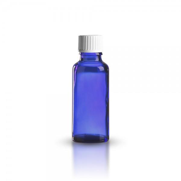 Blaue Tropfflasche mit weißem Standard Schraubverschluss 30ml