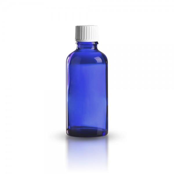 Blaue Tropfflasche mit weißem Standard Schraubverschluss 50ml