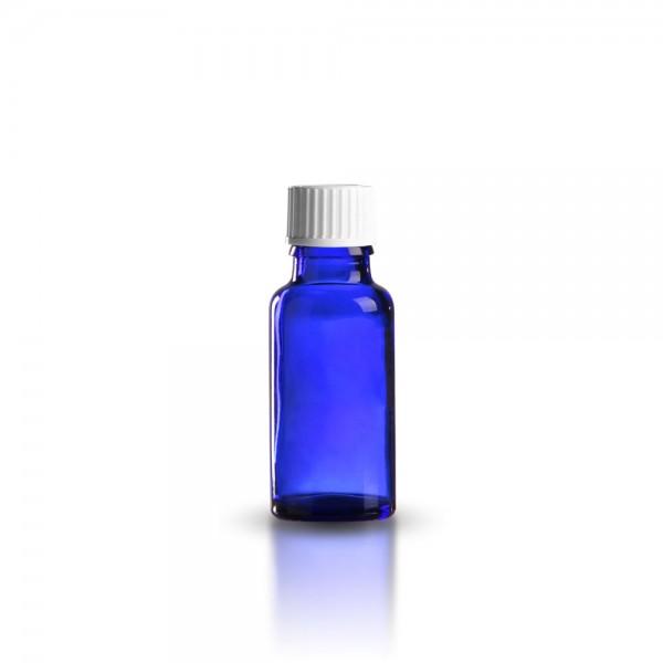 Blaue Tropfflasche mit weißem Standard Schraubverschluss 20ml
