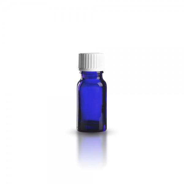 Blaue Tropfflasche mit weißem Standard Schraubverschluss 10ml