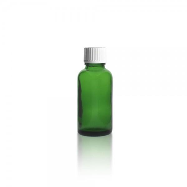 Grüne 30ml Tropfflasche mit weißem Standard Schraubverschluss