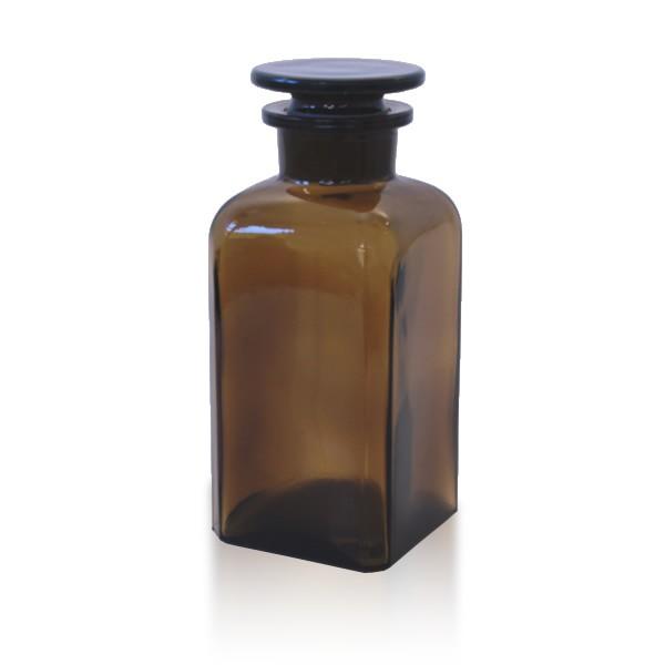 350 ml Vierkantflasche Weithals + NS Stopfen braun
