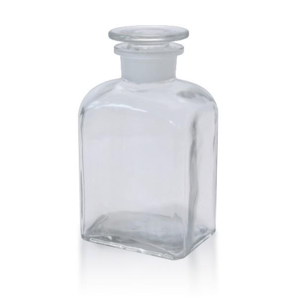 500 ml Vierkantflasche Weithals + NS Stopfen klar