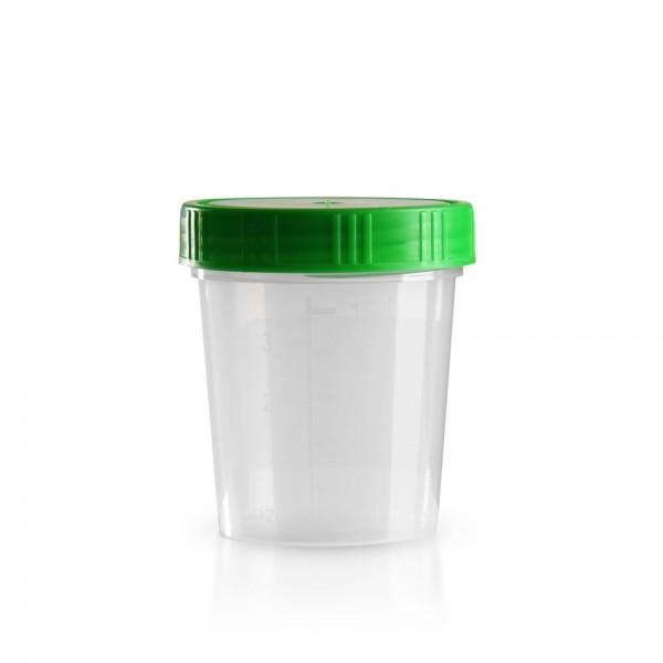 Urinbecher mit Schraubdeckel 125ml grün