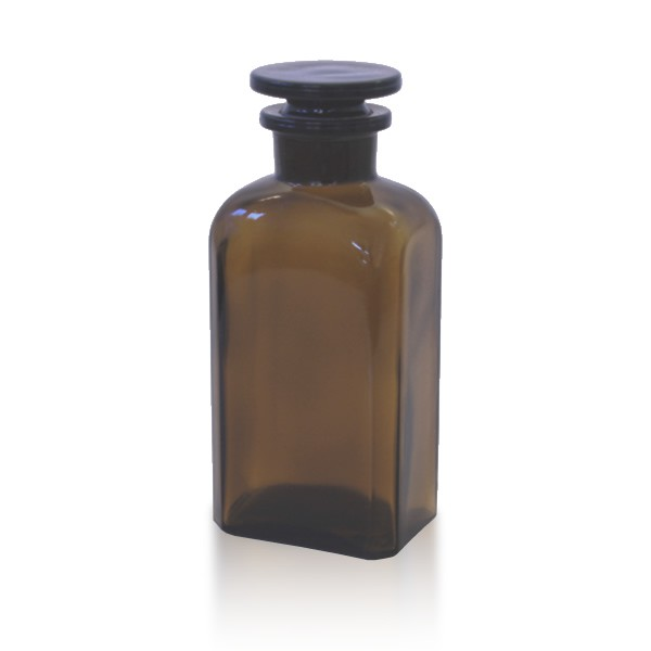 250 ml Vierkantflasche Weithals + NS Stopfen braun